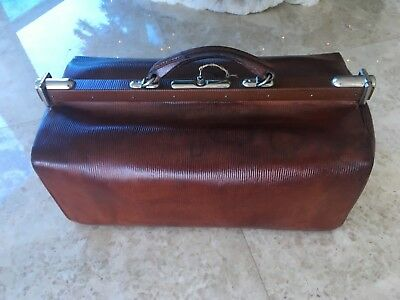Antique Brown Leather Doctor Bag With key Medicine Chrome Art Deco fittings