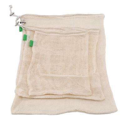 Produce Bags Organic Cotton Mesh Set of 3 Fruits Vegetables Grocery Mesh Bag W