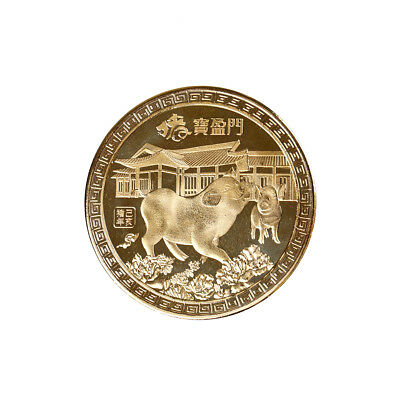 Gold plated Chinese zodiac pig anniversary commemorative coins souvenir coins FG