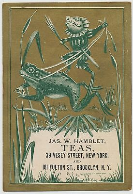 Frogs - Jas. W. Hamblet Teas, NYC and Brooklyn, NY - Victorian Trade Card 1880