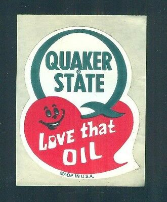 Vintage QUAKER STATE Love The Oil Made In U.S.A. Sticker UNUSED free shipping