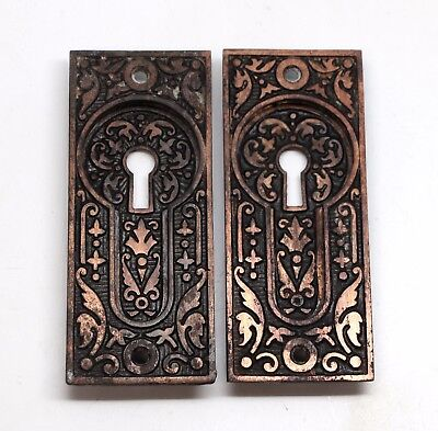 Pair of Cast Iron Aesthetic Sargent Pocket Door Plates