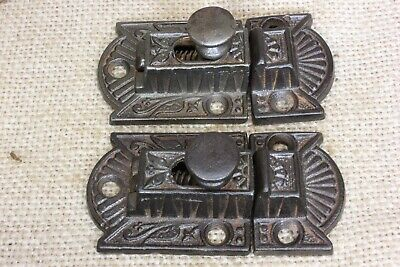 """2 Cabinet catches Cupboard Latches cast iron knob old rustic vintage 2 3/4"""""""