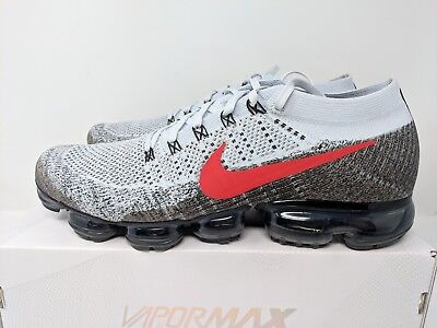 Nike Air Vapormax Og Flyknit Pure Platinum/red Size 13 Brand New (849558-020)