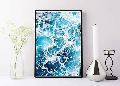 blue and white ocean sea waves clos up print/poster