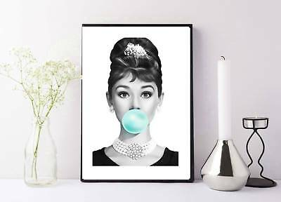 Audrey Hepburn breakfast at tiffany's bubble gum print/poster