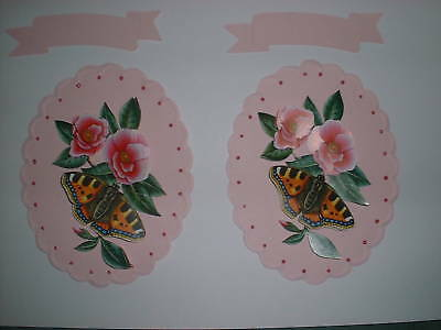 UNUSUAL 3D PINK FLOWER /& BUTTERFLY CARD TOPPERS
