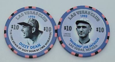 2 Las Vegas Club $10 Casino Chips Las Vegas  Shoeless Joe Jackson Dizzy Dean