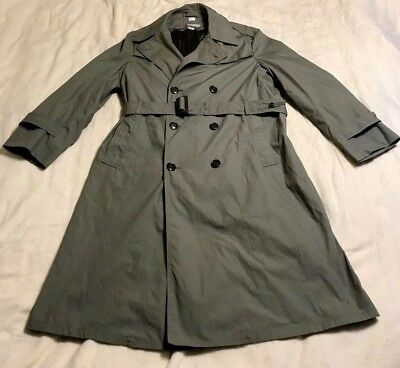 "vintage US MARINE CORPS TRENCH COAT ""PEWTER 2246"" MEN'S 42L (42 L) MILITARY LONG"