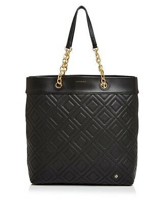 d189f308607 Nwt Tory Burch  558 Black Fleming Medium Quilted Tote Bag