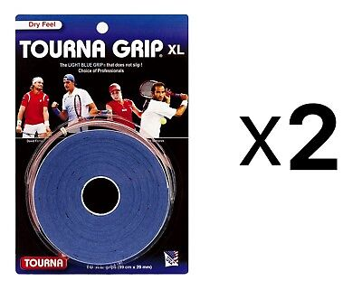 Tourna Tennis Over Grip 10 XL Overgrips Absorbent Dry Feel Blue (2-Pack)