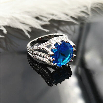 Fashion Big Blue Color Crystal Rings For Women Wedding Engagement Ring Jewelry