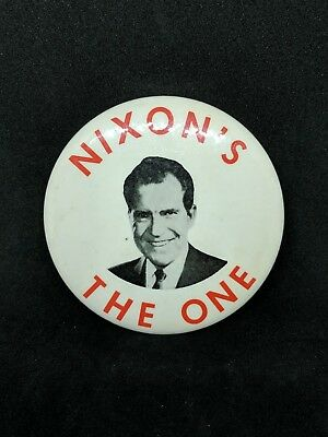 Classic 1968 Richard NIXON'S THE ONE Campaign PC Button Pinback 3.5 inches