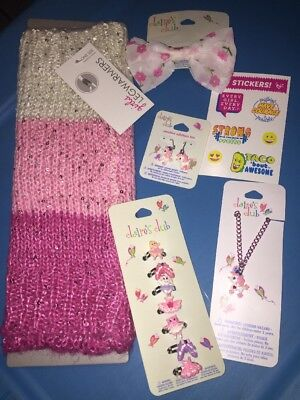 Girls Poodle Dance Leg Warmer Ring Necklace Jewelry Lot Nwt + Justice Stickers