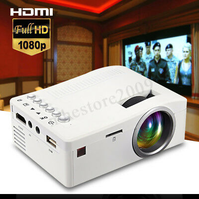 UC18 Mini 1080P LED Projector Home Cinema Theater Multimedia PC USB TV AV