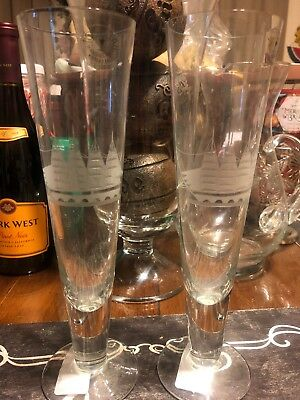 Set of 2 Toscany Hand Blown Romanian Pilsner Glasses With Ship Etching