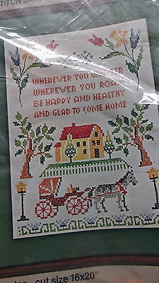Counted Cross Stitch Kit Be Happy & Healthy Glad To Come Home  NEW 1977