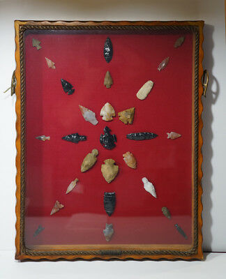 Large Native American Indian Arrowheads Beads Artifacts Framed Museum Lot