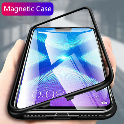 For Samsung A7 A9 2018 Magnetic Metal Tempered Glass Case Frame Cover Bumper