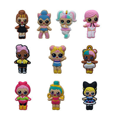 50pcs Dolls for Girls PVC Shoe Charms Accessories for holes on Shoes Bands Gift