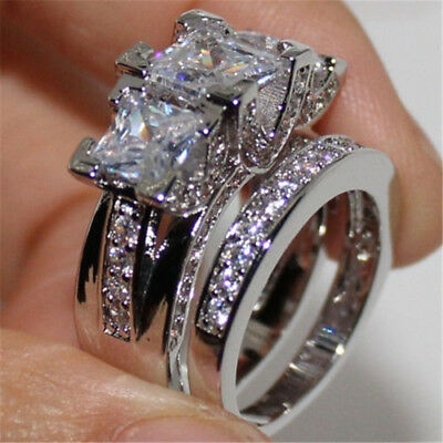 Luxury White Sapphire Love Wedding Ring Set 925 Silver Engagement Jewelry Sz5-12