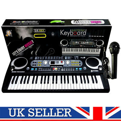 Digital 54Keys Electronic Keyboard & Microphone Mic Electric LEDS Adult Size Set