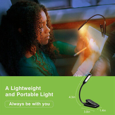 360° Rechargeable Portable Flexible LED Clamp Clip Travel Reading Book Light NEW