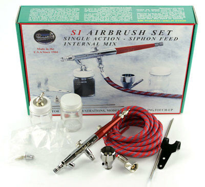 New Paasche Feed Airbrush Set SI-SET Single Action Siphon