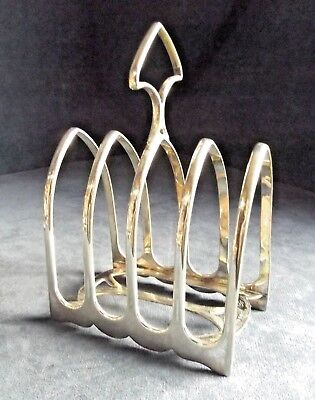 """GOOD Large 6"""" ~ ART DECO Styled ~ SILVER Plated ~ TOAST / Letter RACK ~ c1930"""