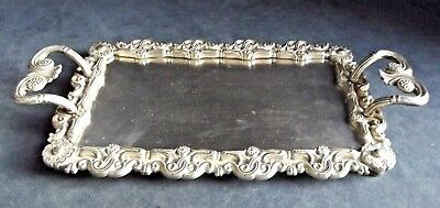 """SUPERB Ornate 11"""" ~ Cast SILVER Plated ~ Rococo Styled ~ Platter TRAY ~ c1880"""