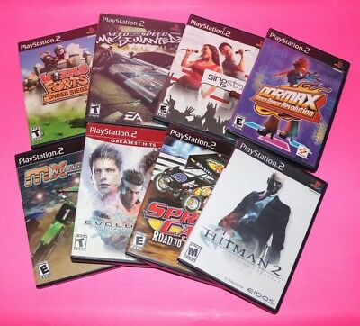 Sony PLAYSTATION 2 Lot of 8 PS2 Games WORMS / RACING / VIRTUA FIGHTER / HITMAN 2