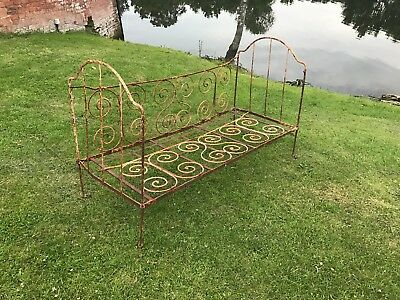 French iron daybed cot decorative style seats two people Antique from France