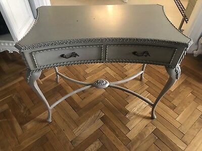 French Desk Table Console Green Grey With Drawers