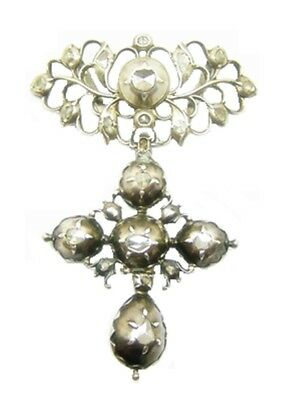 Charming 17th - 18th century Baroque Silver & Diamond Cross Décolletage Pendant