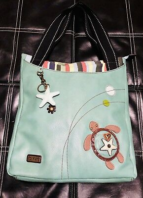 607f525d0ff6 CHALA LARGE SIZE Everyday Tote Shoulder Bag in Turquoise Color (Sea Turtle)
