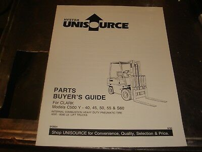 "1968-1972 CLARK /""C500 Y 30 35 40 45 50 55/"" SERIES FORKLIFT PARTS CATALOG MANUAL"