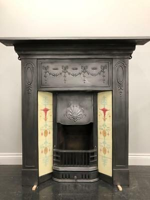 Fully Restored Original Antique Edwardian tiled Combination Grate Fire Fireplace
