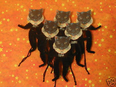 Primitive Vintage Style Halloween Cat Ornaments Chenille Feather Tree