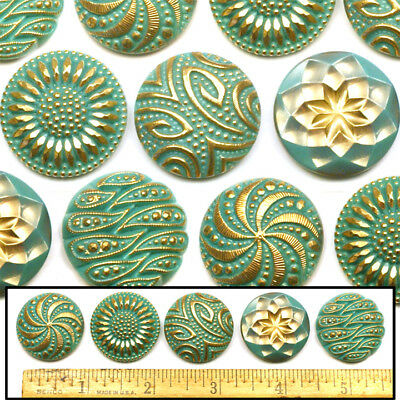 27mm Vintage Czech Glass TURQUOISE Blue Shankless No Shank Buttons Cabochons 5pc
