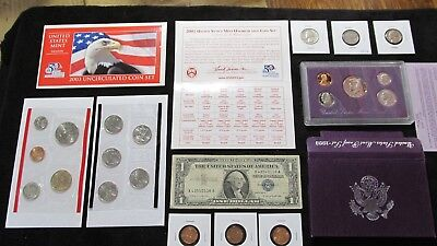 Old US COINS LOT  ~MINT+PROOF+90% SILVER QUARTER +54 Whet Cent  NO RESERVE#168