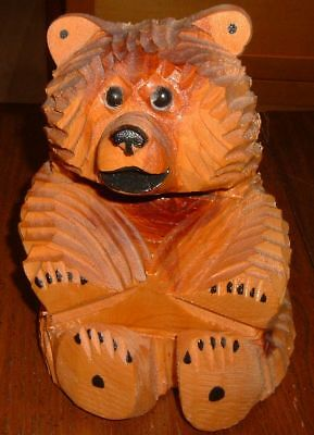 "6"" Carved Wood Chainsaw Bear Sculpture/Carving~Ruidoso NM~Cabin Décor"