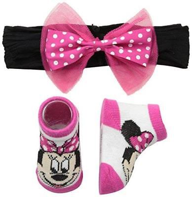 New Disney Minnie Mouse Infant Booties Socks And Handband Pink Set 0-12 Months