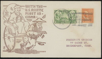 US 785 & 803 on 1938 US Asiatic Fleet in China naval cover w/U.S.S. Pigeon pmk