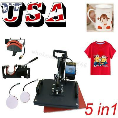 5 in1 Combo T-Shirt Heat Press Transfer Printing Machine Sublimation 12X15 INCH