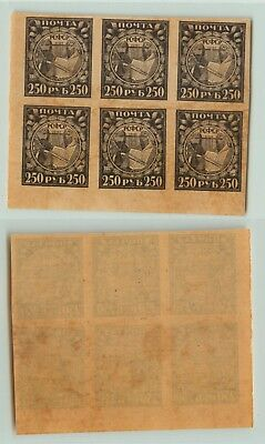 Russia RSFSR 1921 SC 183 Z 10 MNH block of 6 . e3406
