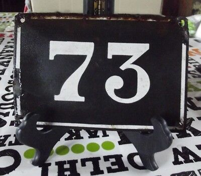 Large old black French house number 73 door gate wall plate enamel metal sign