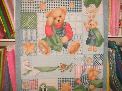 1 Yd Vintage Novelty Children's Baby Quilt Fabric Panel BJT Blankie Bear WH