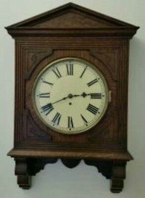 Antique English Single Fusee Wall Clock Mahogany Case