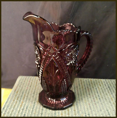 Vintage Viking Amethyst Pitcher ~Purple Glass EAPG ~ Sawtooth Pressed Pattern 8""