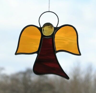 Abstract Stained Glass suncatcher (Angel) red and amber water glass, light amber